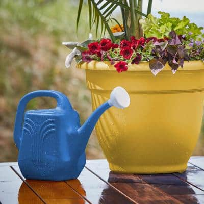 Classic 2 Gal. Classic Blue Plastic Watering Can