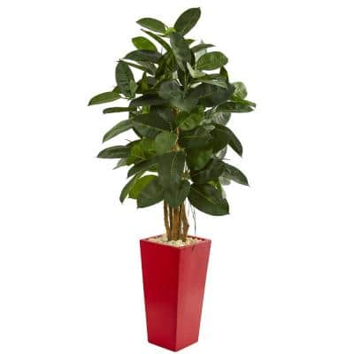 Indoor 5-Ft. Rubber Leaf Artificial Tree in Red Tower Planter