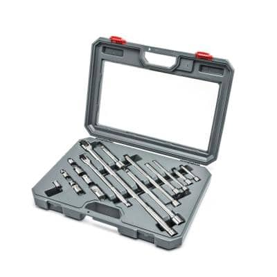 1/4 in. x 3/8 in. x 1/2 in. and 3/4 in. Socket Accessories Set (16-Piece)