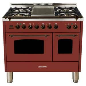 40 in. 4.0 cu. ft. Double Oven Dual Fuel Italian Range with True Convection, 5 Burners, Griddle, Bronze Trim in Burgundy