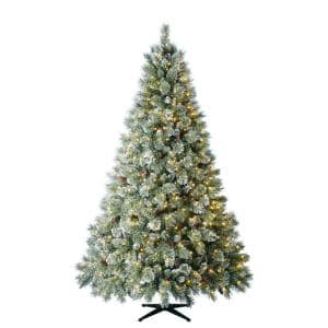 7.5 ft Sparkling Amelia Pine LED Pre-Lit Artificial Christmas Tree with 600 Warm White Micro Fairy Lights