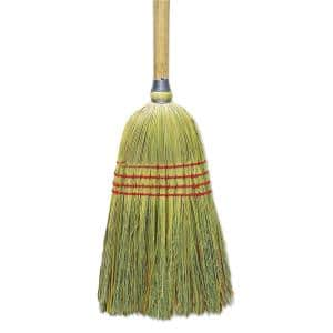 56 in. Corn/Fiber, Lacquered Wood Handle Upright Broom in Natural (6/Carton)