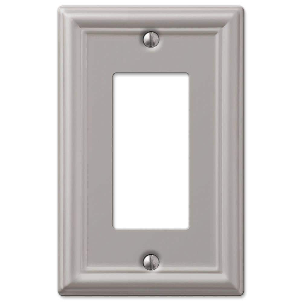 Hampton Bay Ascher 1 Gang Rocker Steel Wall Plate Brushed Nickel 149rbnhb The Home Depot
