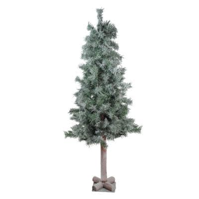 4 ft. x 22 in. Lightly Flocked and Glittered Woodland Alpine Unlit Artificial Christmas Tree
