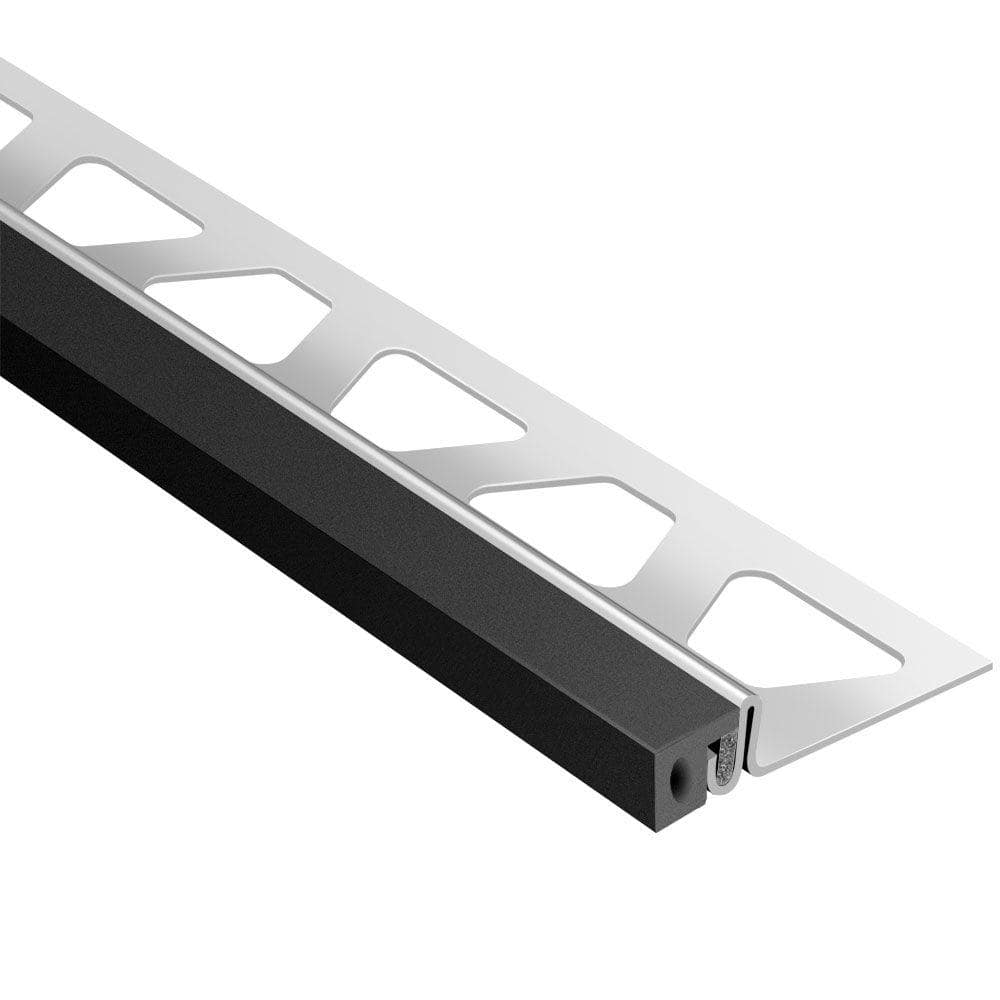 Schluter Systems Dilex Ksa Stainless Steel With Black Insert 5 8 In X 8 Ft 2 1 2 In Rubber And Metal Movement Joint Tile Edging Trim Eksa160gs The Home Depot