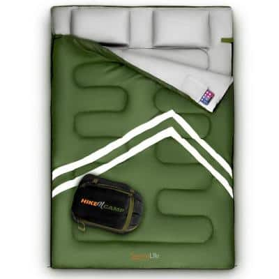 Green Double Sleeping Bag with 2 Pillows