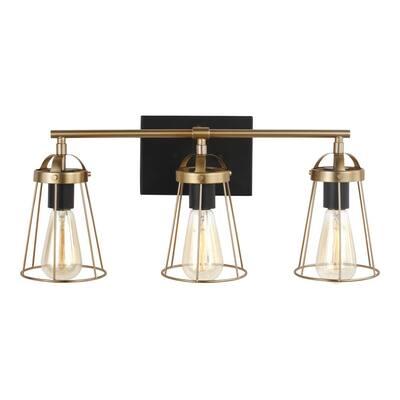 Dames 3-Light Satin Brass Vanity Light