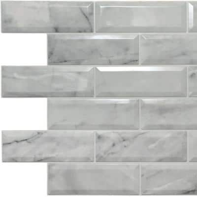 3D Falkirk Retro II 39 in. x 24 in. Off-White Faux Marble Bricks PVC Wall Panel (5-Pack)
