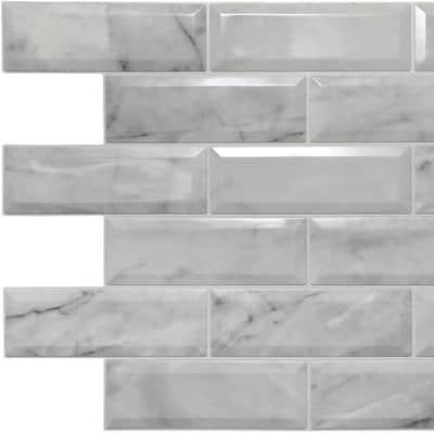 3D Falkirk Retro II 39 in. x 24 in. Off-White Faux Marble Bricks PVC Wall Panel