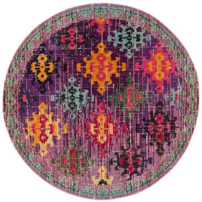 Monaco Purple/Multi 6 ft. 7 in. x 6 ft. 7 in. Round Area Rug