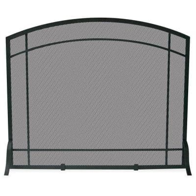 Black Wrought Iron 39 in. W Steel Frame Single-Panel Fireplace Screen with Mission Design