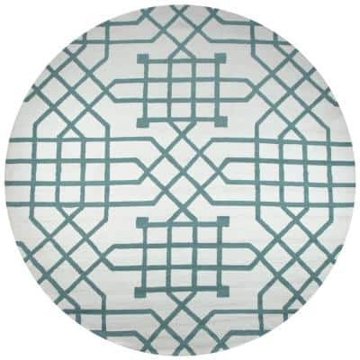 Azzura Hill Off White Geometric 8 ft. x 8 ft. Round Indoor/Outdoor Area Rug