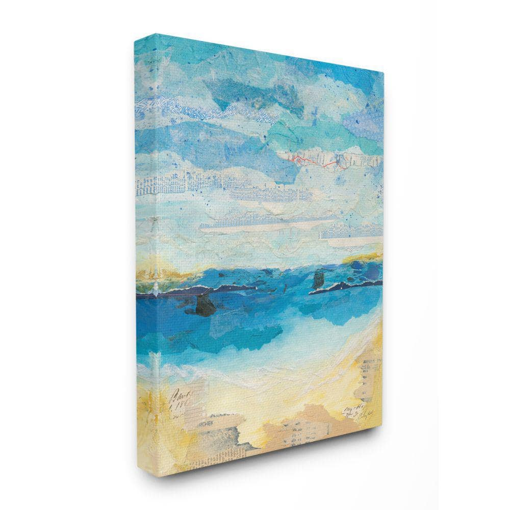 Stupell Industries 36 In X 48 In Abstract Beach Coast Ocean Blue Collage By Courtney Prahl Canvas Wall Art Cwp 375 Cn 36x48 The Home Depot