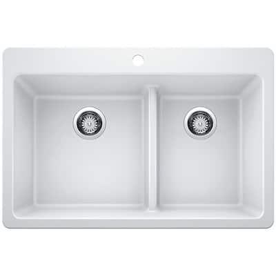 Desert Sand 33-Inch Dekor Sinks 89015Q Westwood Composite Granite Double Bowl Kitchen Sink