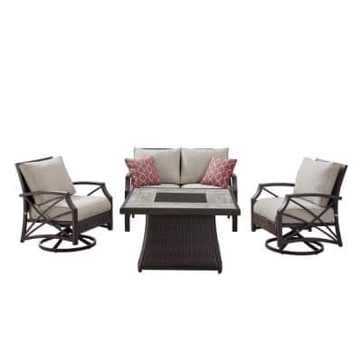 OVE Decors Belleview 4-Piece Wicker Patio Fire Pit Conversation Set w/ Brown Cushions