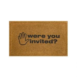 Were You Invited Natural 18 in. x 30 in. Faux Coir Doormat