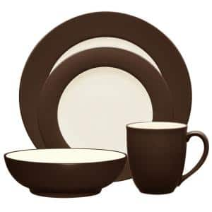 Colorwave Chocolate Brown Stoneware Rim 4-Piece Place Setting (Service for 1)