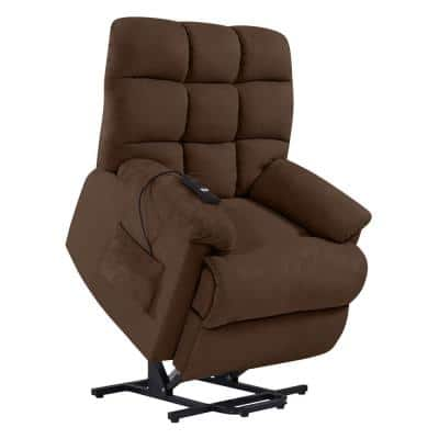Power Recline and Lift Chair in Dark Brown Microfiber