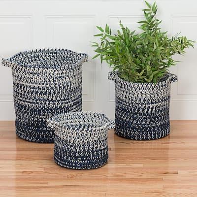 Monet Ombre 16 in. x 16 in. x 20 in. Navy Round Polypropylene Braided Basket