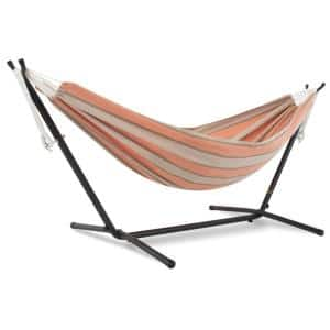 9 ft. Sunbrella Hammock Bed with Space Saving Steel Stand in Cameo