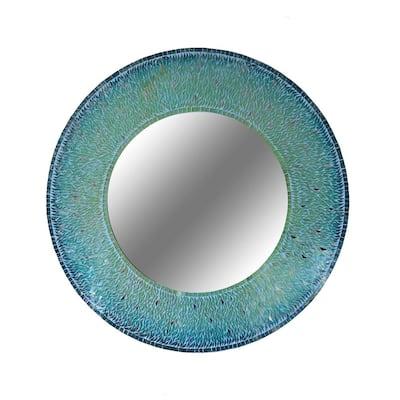 Medium Oval Blue Art Deco Mirror (34 in. H x 34 in. W)