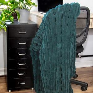 Peacock Chenille Chunk Knit Throw