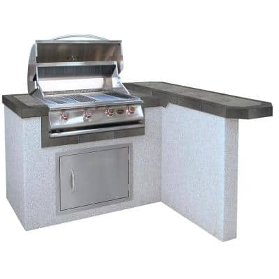 4 ft. Stucco Grill Island with 4-Burner Propane Gas Grill in Stainless Steel