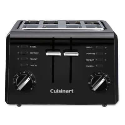 Compact 4-Slice Black Wide Slot Toaster with Crumb Tray
