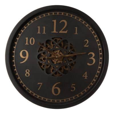 22.83 in. D Morden Oversized Metal Wall Clock with Moving Gears