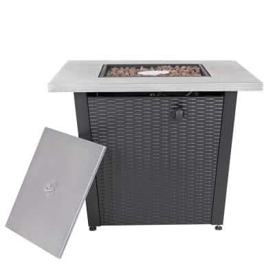 50000 BTU 32 in. Square 25 in. H Steel Outdoor Propane Gas Fire Pit Table