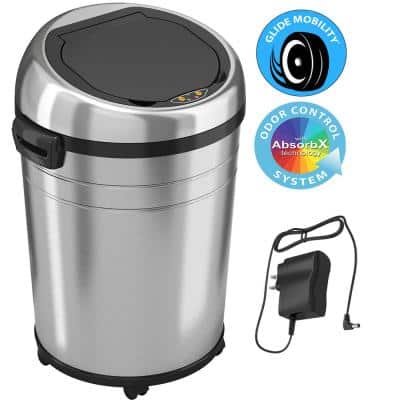 18 Gallon Stainless Steel Touchless Sensor Trash Can with Odor Control System and Removable Wheels, Extra-Large Capacity
