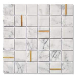 Cairo White 11.81 in. x 11.81 in. Square Joint Matte/Brushed Marble & Metal Mosaic Wall Tile (0.97 sq. ft./Ea)
