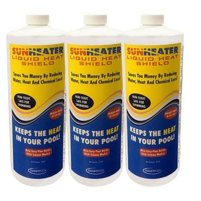 3-Bottles (96 oz.) 0.1 BTU Heat Output Solar Blanket Safe for Swimmers, Reduces Heat Chemical Loss and Water Evaporation