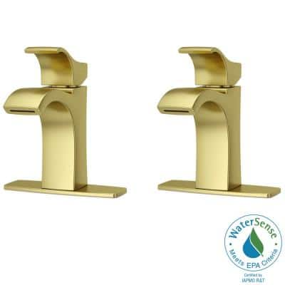 Venturi Single Hole Single-Handle Bathroom Faucet in Brushed Gold (2-Pack)