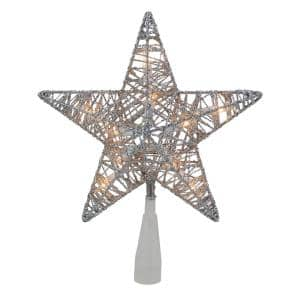 9.5 in. Lighted 5 Point Silver Wire Star Christmas Tree Topper with Clear Lights