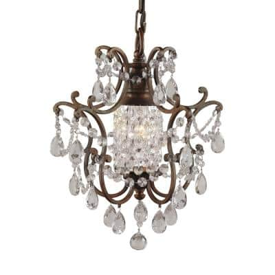Maison De Ville 1-Light British Bronze French Country Classic Mini Crystal Candlestick Chandelier with Bead Accents
