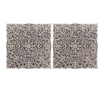 Carved Out White Wood Panel (Set of 2)