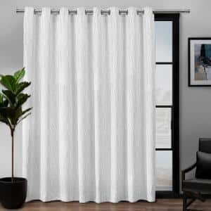 Forest Hill Patio White Floral Polyester 108 in. W x 84 in. L Grommet Top, Room Darkening Curtain Panel