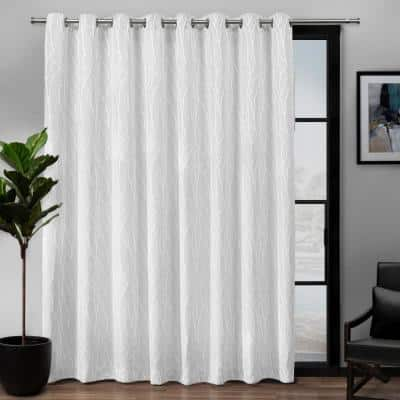 White Floral Thermal Blackout Curtain - 108 in. W x 84 in. L