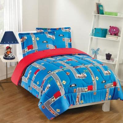 City Streets 3-Piece Blue Full Comforter Set