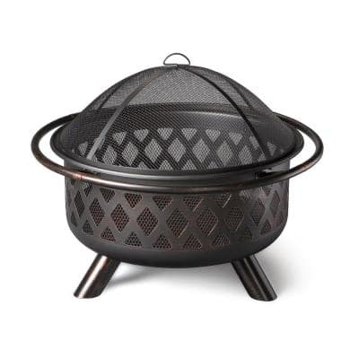 30 in. D Bronze Finish Portable Lattice Wood Burning Fire Pit