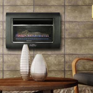 28 in. 26,000 BTU Ventless Linear Wall Gas Fireplace with Thermostat in Black