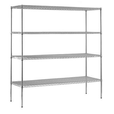 Chrome 4-Tier Heavy Duty Steel Garage Storage Shelving (72 in. W x 74 in. H x 18 in. D)