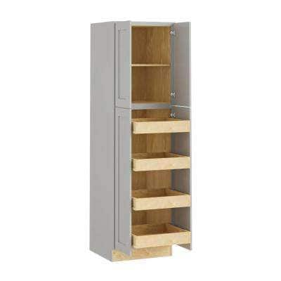 Tremont Assembled 24x84x24 in. Plywood Shaker Utility Kitchen Cabinet Soft Close 4 rollouts in Painted Pearl Gray