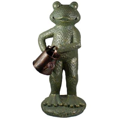17 in. Gold Verdigris Frog With Watering Can Outdoor Garden Statue