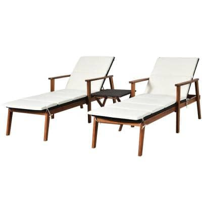 Reclining Wood Fabric Outdoor Lounge Chair with Adjustable Backrest White Cushioned (2-Pack)