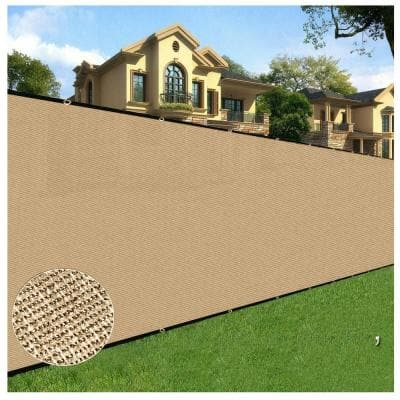 6 ft. X 50 ft. Beige Privacy Fence Screen Netting Mesh with Reinforced Grommet for Chain link Garden Fence