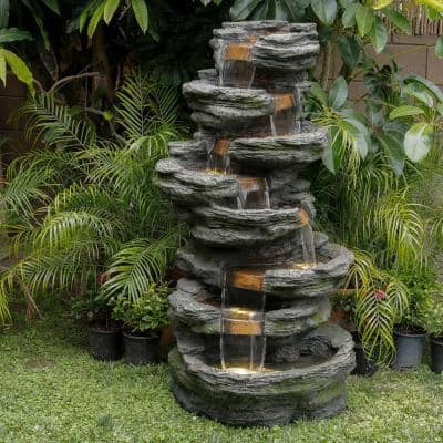 58 in. Tall Outdoor 8-Tier Rainforest Rock Water Fountain with LED Lights
