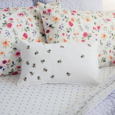 White Bee Embroidered Cotton Decorative Pillow
