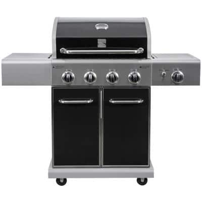 4 Burner Propane Gas Grill in Black with Searing Side Burner